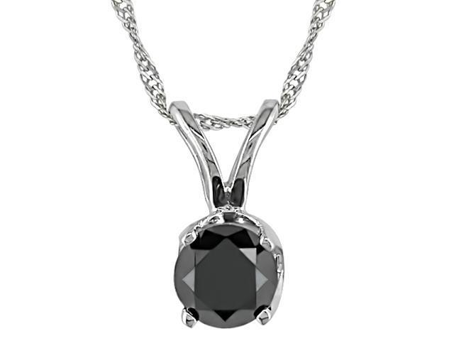 1/4ct Black Diamond Solitaire Pendant in 14k White Gold, 17