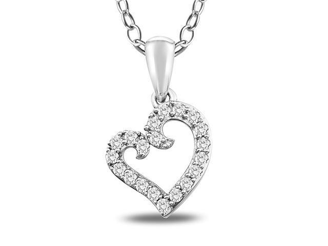 1/5 CT Diamond TW Heart Pendant With Chain Silver I3