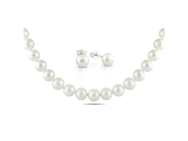 10-11mm Freshwater Pearl Sterling Silver Necklace and Button Pearl Earring Set