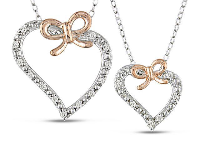 """1/5 Carat T.W. Diamond Heart Pendant Set in Sterling Silver, 18"""""""