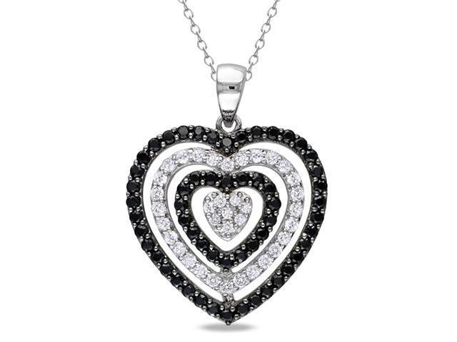 0.07 CT Diamond TW And 2 1/4 CT TGW Black Spinel White Topaz Heart Pendant