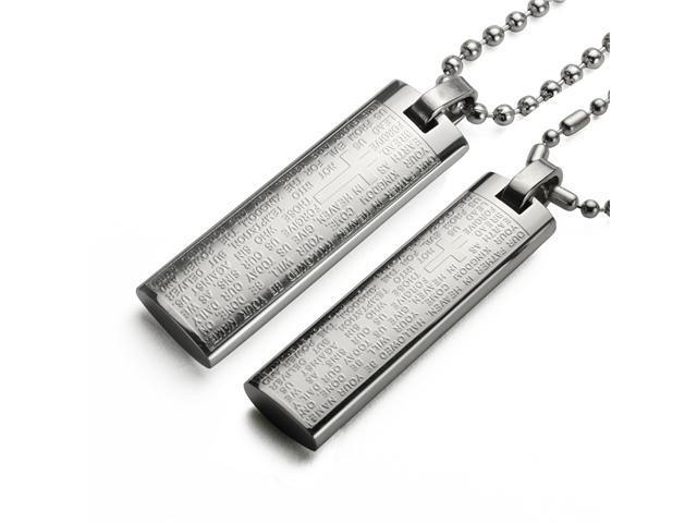 Stainless Steel Couples English Lord's Prayer Cross Bar Necklace Set 16