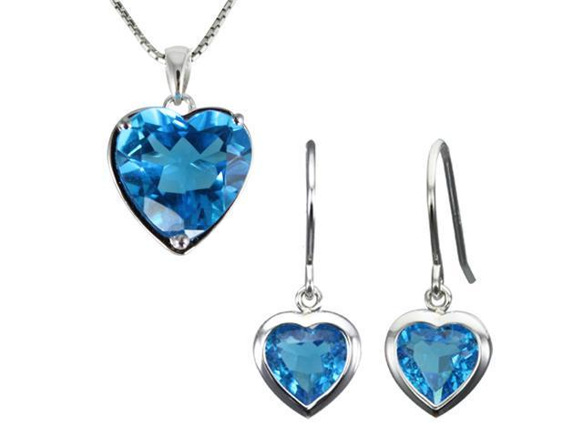 Ocean Heart Aquamarine Cubic Zirconia Silver Pendant Necklace & Earrings Set 16