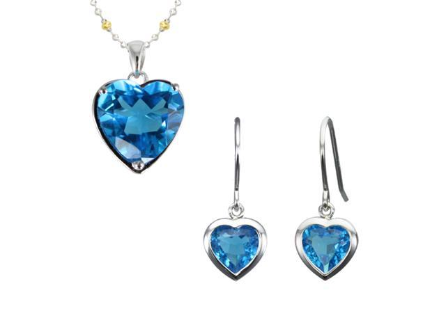 Ocean Heart Aquamarine Cubic Zirconia Silver Pendant Necklace & Earrings Set 18