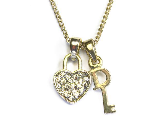 Key to Your Heart Silver Gold Tone Cubic Zirconia Heart and Key Pendant Necklace