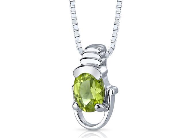 0.75 Ct. Oval Shaped Peridot in Sterling Silver Pendant with 18