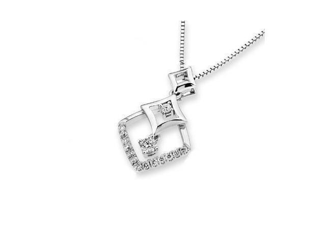 18K White Gold Round Diamond Triple Rhombus Dangle Pendant w/925 Sterling Silver Chain 18