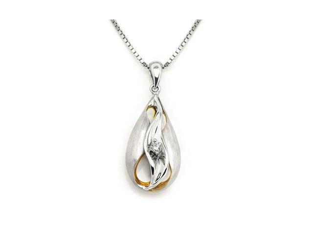 18K White Gold And Yellow Gold Round Diamond Swivel Surrounded by Droplet Pendant W/925 Sterling Silver Chain 18