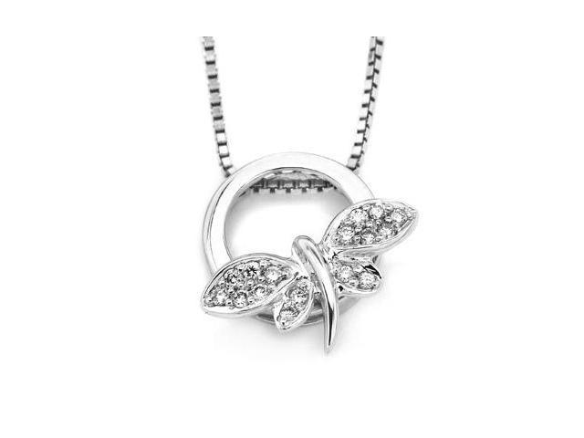 """18K White Gold Round Diamond Dragonfly Pendant W/925 Sterling Silver Chain 18"""" (0.09 cttw, G-H Color, VS2-SI1 Clarity)"""