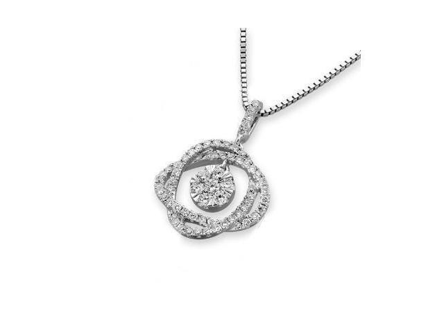18K White Gold Round Diamond Double Oval Illusion Dangling Diamond Pendant w/925 Sterling Silver Chain 18