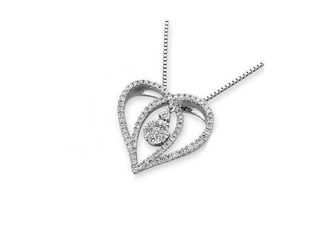 18K White Gold 3D Heart With Dangling Diamond Pendant w/925 Sterling Silver Chain 18