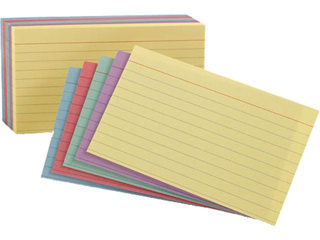 Tops Pendaflex 34610 Ruled Index Cards 4 x 6  Blue/Violet/Canary/Green/Cherry; 100 per Pack