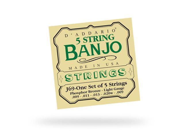 D'Addario J69 Banjo Guitar Strings - Nickel - Light - 3 Pack