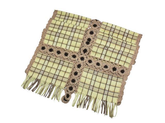 Dahlia Women's Large Wool Blend Scarf Shawl - Flower Plaid Stitch - Yellow
