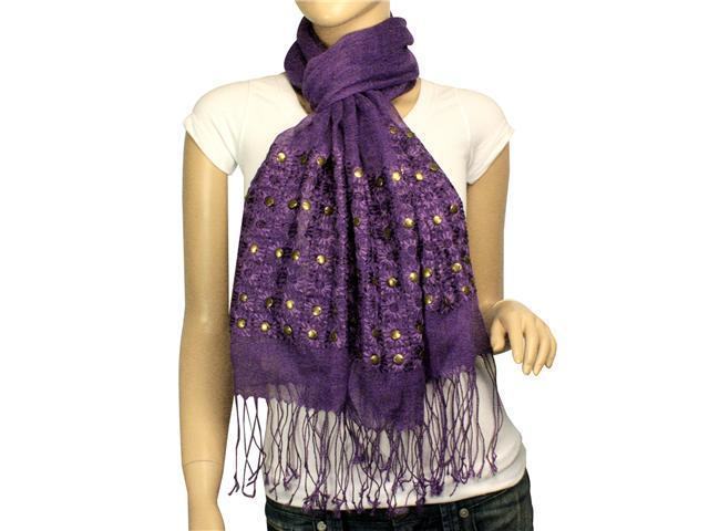 Linen Fashion Hand Embroidered Flowers & Rivets Long Scarf Shawl(Purple)-Various colors