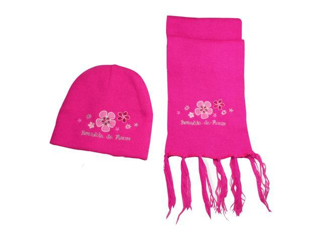 100% Acrylic Girl Embroidered Plum Blossoms Knitted Hat Scarf Set - Magenta Pink