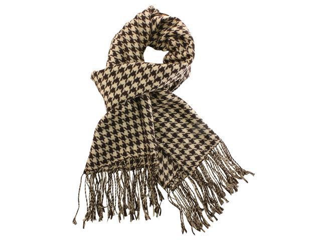 Dahlia Women's 100% Merino Wool Pashmina Scarf - Houndstooth - Brown Tan