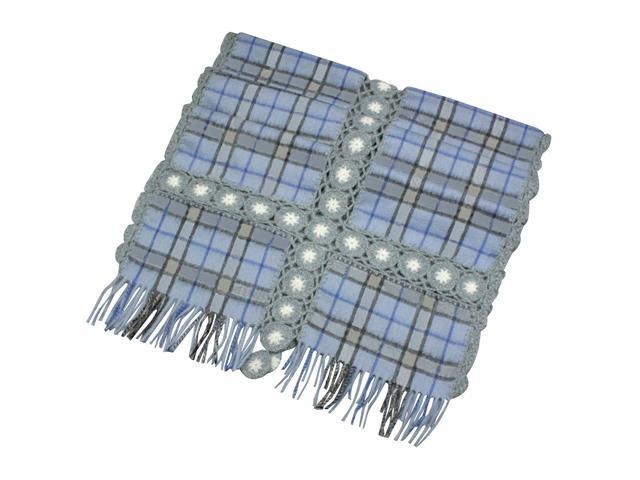 Dahlia Women's Large Wool Blend Scarf Shawl - Flower Plaid Stitch - Blue
