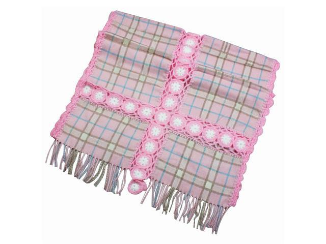 Dahlia Women's Large Wool Blend Scarf Shawl - Flower Plaid Stitch - Rose Pink