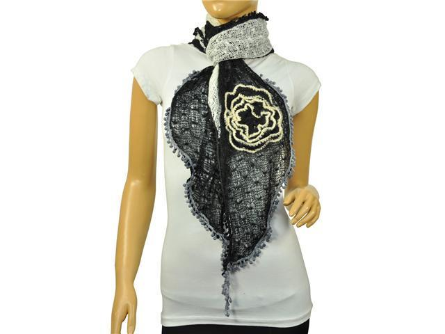 Dahlia Acrylic & Mohair Two-Tone Ruffle Large Flowers Small Ball Scarf - Black/White