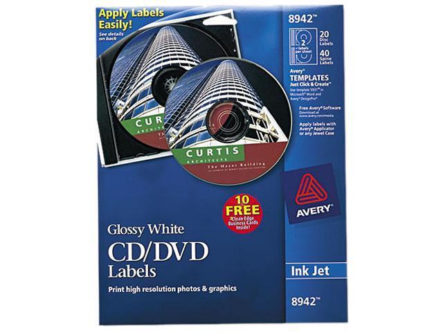 AVE8942 CD Labels, Inkjet Glossy, 20PK, White