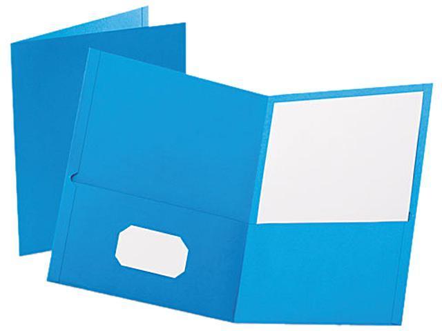 Tops Pendaflex 57501 Twin-Pocket Portfolio  Embossed Leather Grain Paper  Light Blue