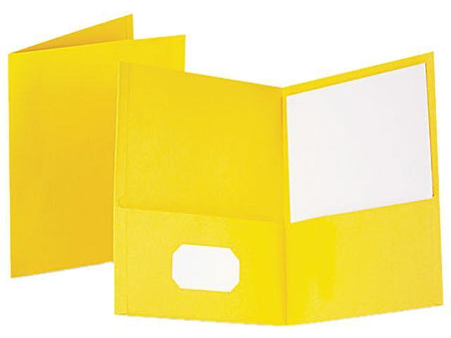 Tops Pendaflex 57509 Twin-Pocket Portfolio  Embossed Leather Grain Paper  Yellow