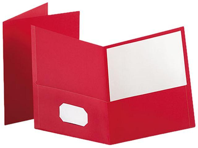 Tops Pendaflex 57511 Twin-Pocket Portfolio  Embossed Leather Grain Paper  Red