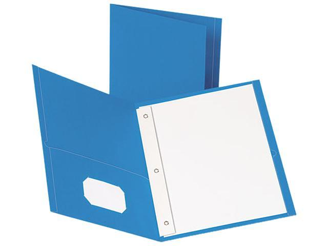 Tops Pendaflex 57701 Paper Twin-Pocket Portfolio  Tang Fasteners  Letter  1/2   Capacity  Blue  25/Box
