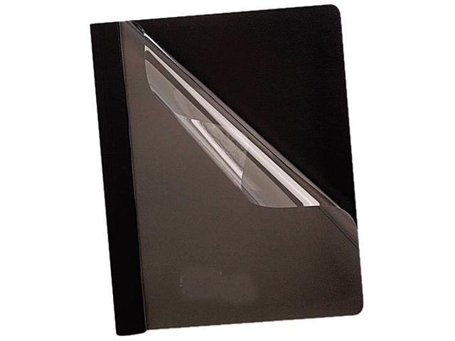 Tops Pendaflex 58806 Coated Paper Report Cover  Tang Clip  Letter  1/2   Capacity  Clear/Black  25/Box