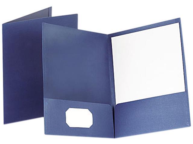 Oxford 53443 Linen Finish Twin Pocket Folders, Letter, Navy, 25/Box