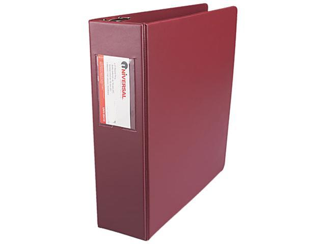 Universal 35416 Suede Finish Vinyl Round Ring Binder with Label Holder  3in Cap  Maroon
