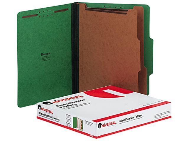 Universal 10302 Pressboard Classification Folders  Ltr  6-Section  Emerald GN  10/box