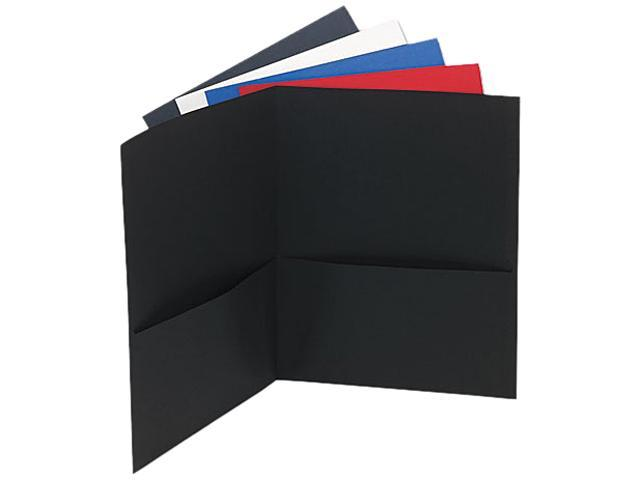 Universal 56613 Two-Pocket Portfolio  Embossed Leather Grain Paper  Assorted Colors