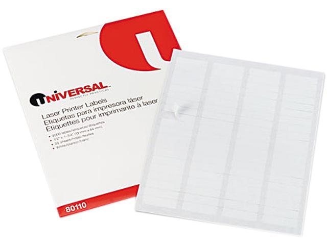 Universal 80110 Laser Printer Permanent Labels  1/2 x 1-3/4  White  2000 per Pack