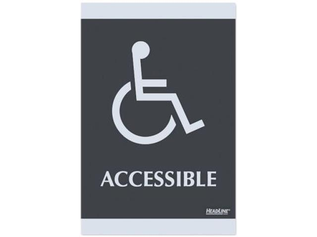 U.S. Stamp & Sign USS4764 ADA Signs- in.Accessiblein.- Adhesive- 6in.x9in.- Silver-Black