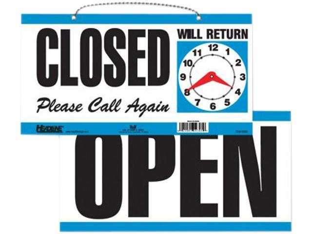 U.S. Stamp & Sign USS9395 Open-Close Sign- w- Please Call Again- 11-.50in.x6in.- White-Blue