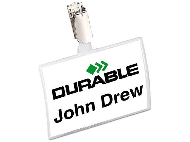Durable 821619 Click-Fold Convex Name Badge Holder  Strap Clip  25 Per Pack