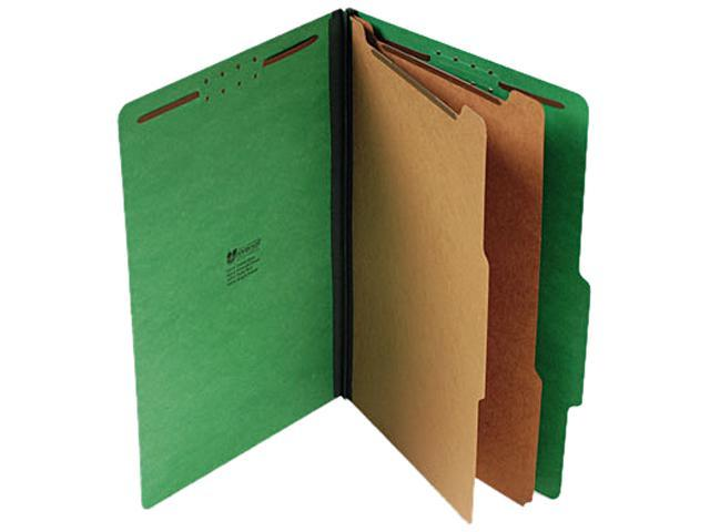 Universal 10312 Pressboard Classification Folders- Legal- 6-Section- Emerald Green- 10/Box