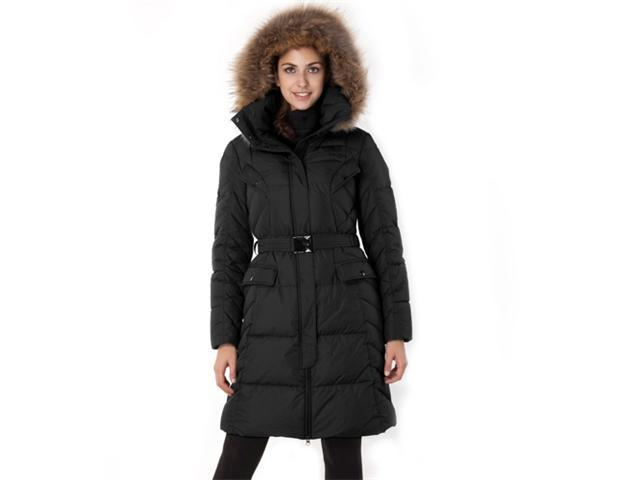 Jessie G. Women's Belted Down Coat with Removable Hood in Black or Chocolate