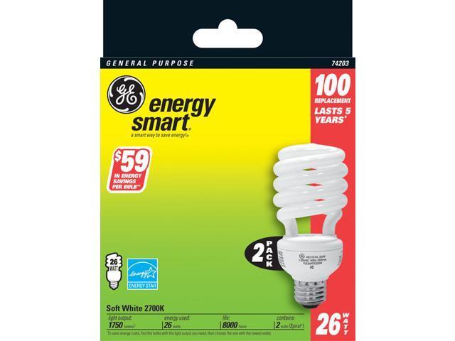 GE Lighting 74203 2 Count 26 Watt Soft White General Purpose Spiral Light Bulb