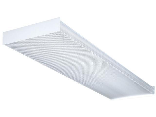 white 4 39 white 4 bulb t8 fluorescent wraparound ceiling light fixture. Black Bedroom Furniture Sets. Home Design Ideas