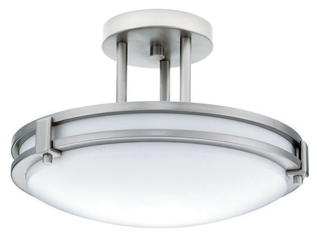 "Lithonia Lighting White 13"" 26 Watt Brushed Nickel Fluorescent Round Ceiling Light Fixture"