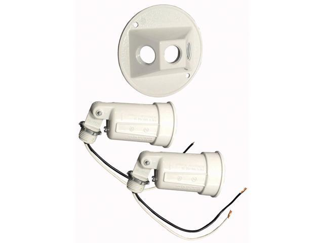 """Bell Outdoor 5625-6 4"""" White Round Dual Lampholders"""