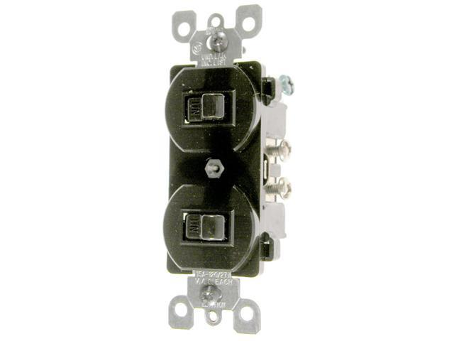 Leviton Brown Commercial Grade 3-Way AC Combination Switch Toggle