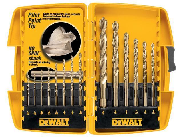 B & D DEWALT POWER TOOLS 14 Piece Set Pilot Point® Drill Bits