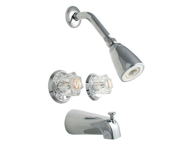 LDR 011-8700 Chrome Tub & Shower Double Handle Faucet