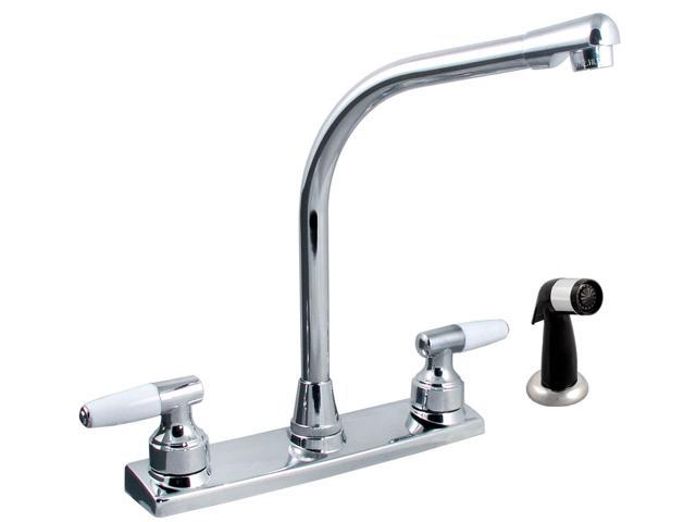 LDR 011-3900 Two Handle Decor Kitchen Faucet With Side Sprayer - Chrome