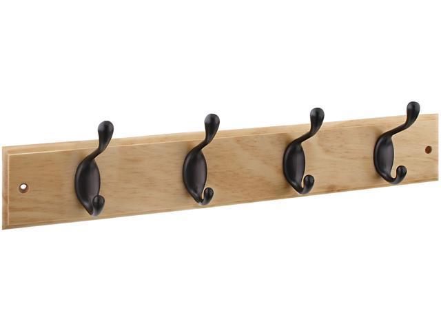 """Stanley Hardware 813022 4 Oil Rubbed Bronze Hooks On 18"""" Natural Rail Hookrail"""