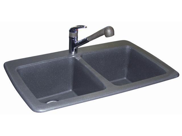 Kindred DGR3322-1 Graphite Granite Double Bowl Kitchen Sink